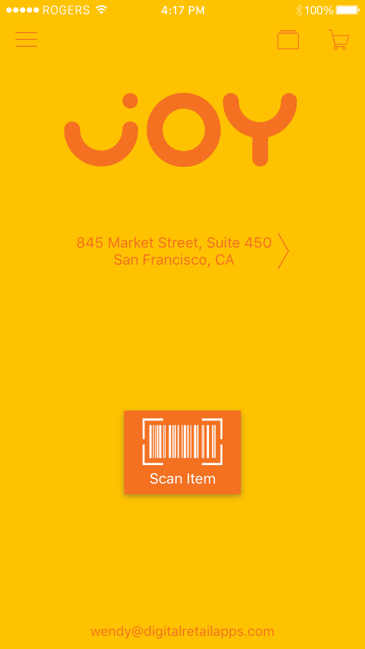 App screenshot showing SelfPay®: A landing page with large barcode scanner button to add items to your cart