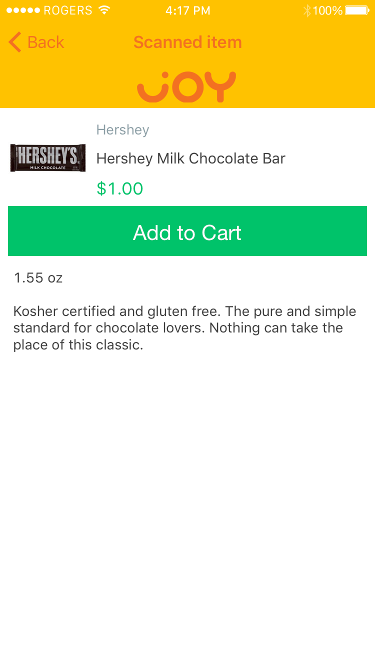 "App screenshot showing SelfPay®: A product view with a helpful item description and prominent ""Add to Cart"" button in green."