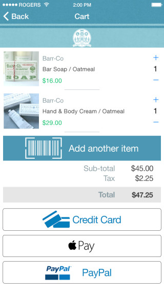 App screenshot showing SelfPay®: A shopping cart view with a product in the cart, a large barcode scanner button to add additional items, and a clear payment options buttons on the bottom.