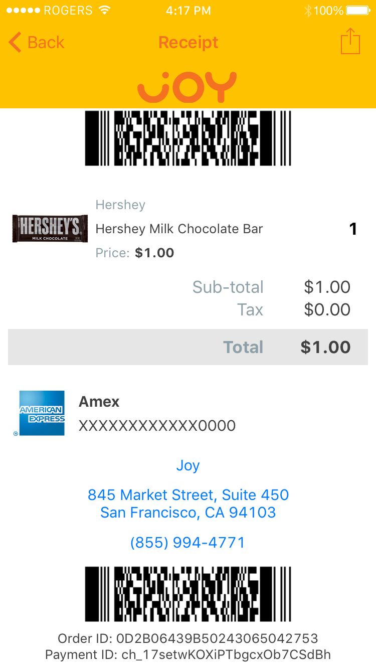 App screenshot showing SelfPay®: The final screen of a typical checkout process, showing the receipt from a purchase